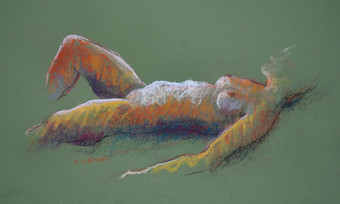 RECLINED FIGURE, PASTEL ON PAPER, 11X17