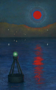 "BLOOD MOON OVER THE ST LAWRENCE II, PASTEL ON PAPER, 22.5""X14.5"""