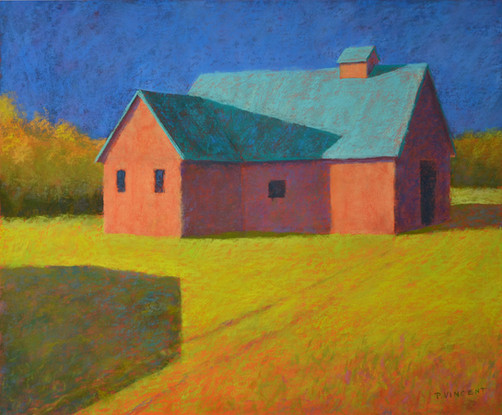 """THE GEOMETRY OF BARNS I,         PASTEL ON BOARD, 24""""X29"""""""
