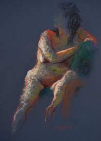 """SITTING NUDE, PASTEL ON PAPER, 18""""X12"""""""