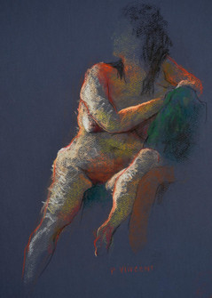 SITTING NUDE, PASTEL ON PAPER, 18X12