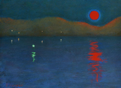 "BLOOD MOON OVER THE ST LAWRENCE I, PASTEL ON PAPER,16.5""X22.5"""