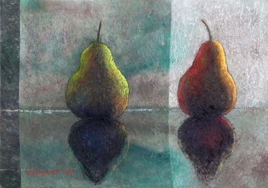 "THE SUPERSYMMETRY OF PEARS, PASTEL/ACRYLIC ON SUBTRATE LAMINATED BOARD, 12""x17"""