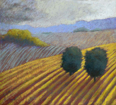 "VINEYARD TWINS, PASTEL ON PAPER, 20.5""X22.5"""