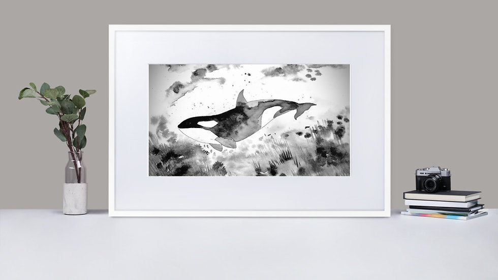 Underwater Panda (Orca) Framed Poster With Mat