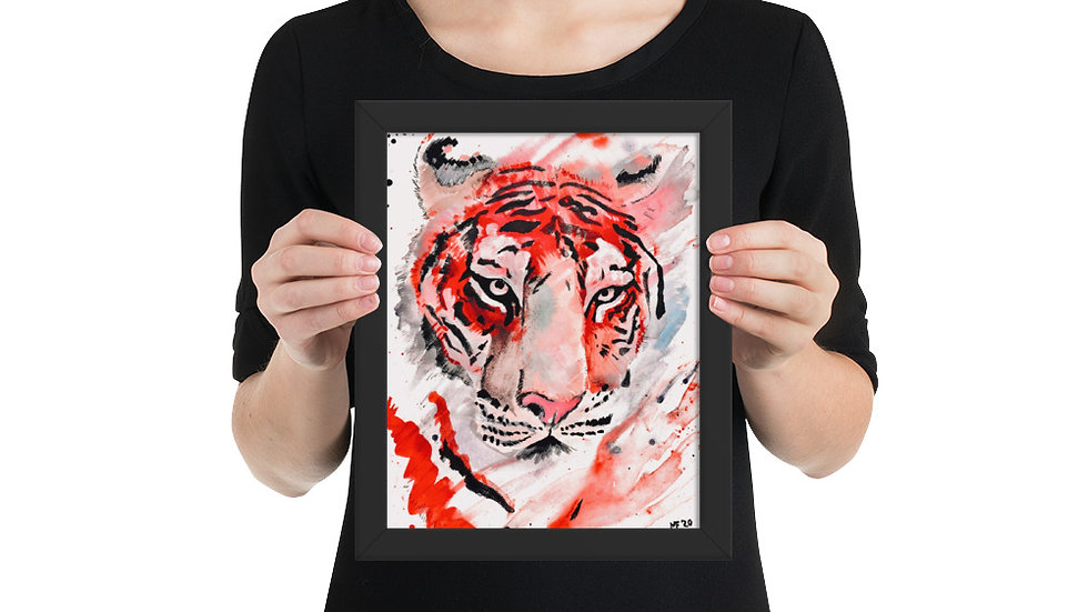 Tiger Watercolor Print Framed Poster