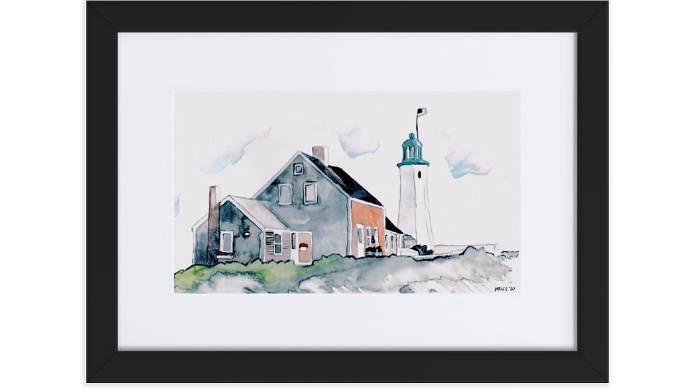 Scituate Lighthouse Scituate Massachusetts Framed Poster With Mat