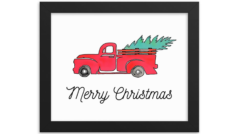 Red Christmas Truck Merry Christmas Framed Print