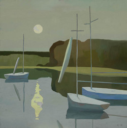 George Xiong Boats in Moonlight
