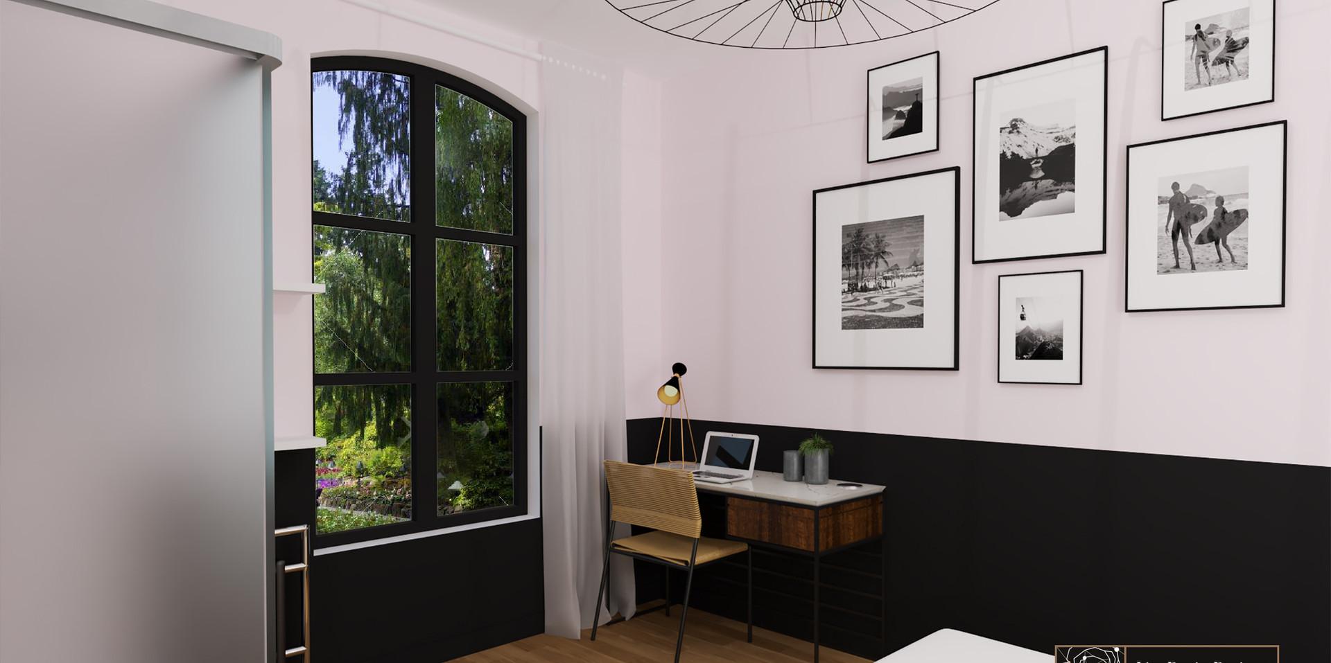 Chambre noire et rose