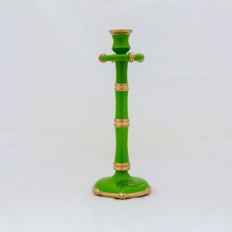 """Tall Bamboo Candlestick - Green  11.5"""""""