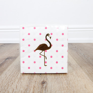 Foil Flamingo Beverage Napkin