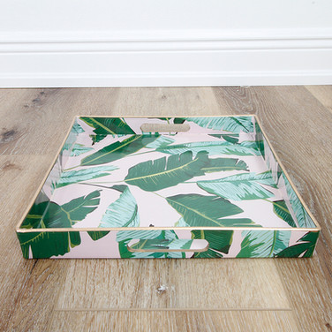Botanical Leaf Pale Pink Tray