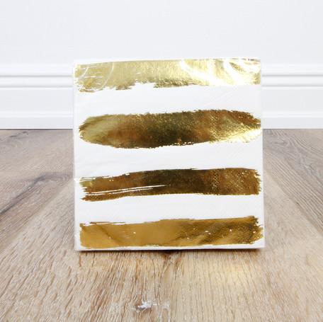Foil Gold Stripe Beverage Napkin