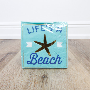 Foil Life's A Beach Beverage Napkin