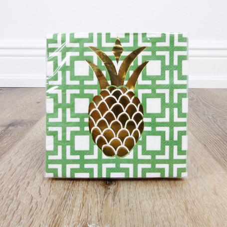Foil Pineapple Beverage Napkin