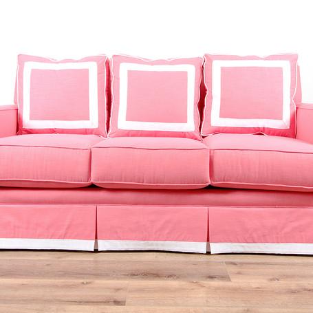 "Beverly Sofa - Pink Grosgrain  75"" x 35"" x 39"""