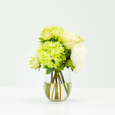 Small White Rose and Snowball Bouquet in Glass Vase
