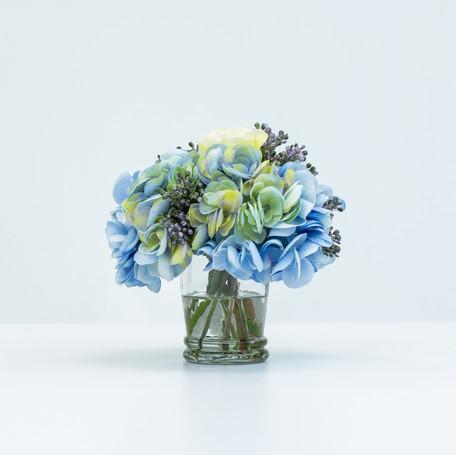 Mixed Blue Hydrangea Bouquet in Glass Vase
