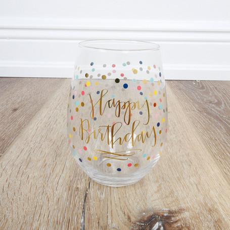 Happy Birthday Stemless Wineglass