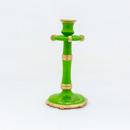 """Bamboo Candlestick - Green  8.5"""""""