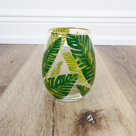 Palm Leaf Stemless Wineglass
