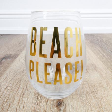 Beach Please! Stemless Wineglass