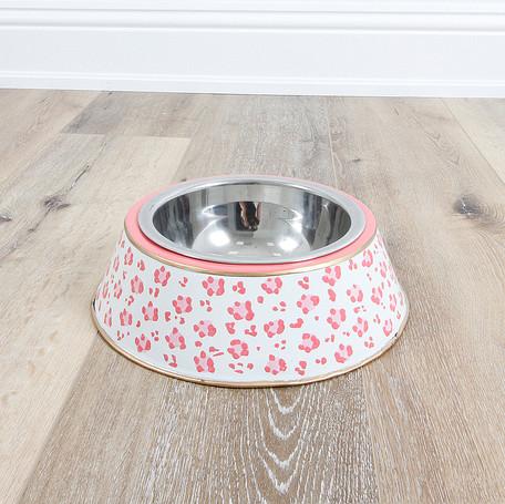 Pink Leopard Dog Bowl - Large