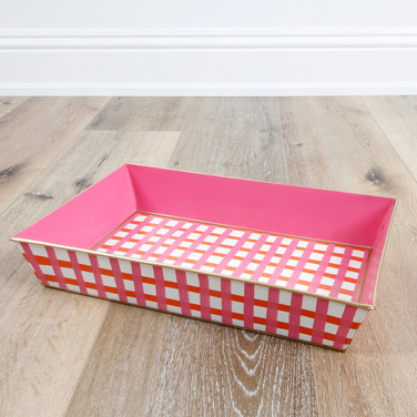 Gingham Pink Orange Organizing Tray