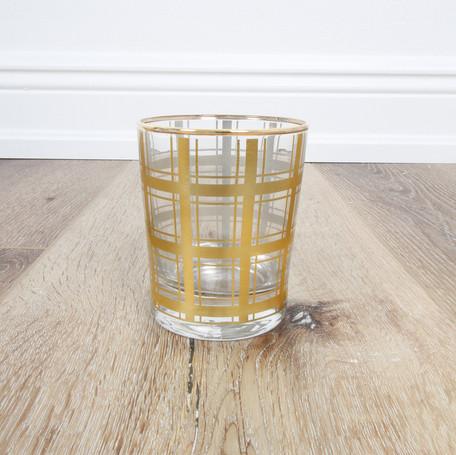 Gold Plaid Highball Glass