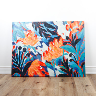 "Coral Floral with Blue Green Leaf 36"" x 48"""