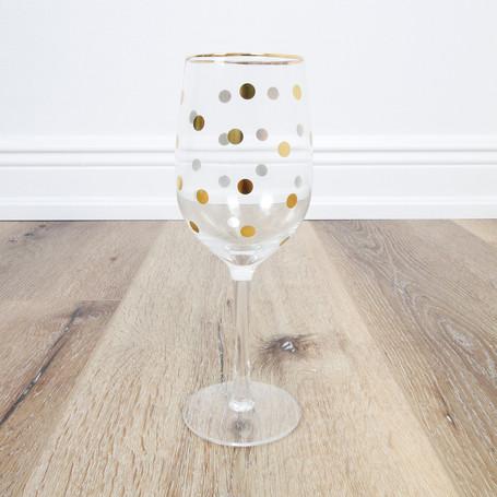 Gold Dot Wineglass