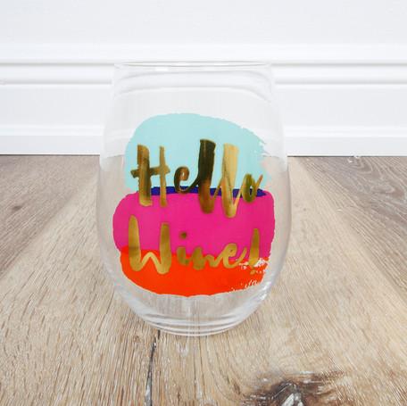 Hello Wine! Stemless Wineglass