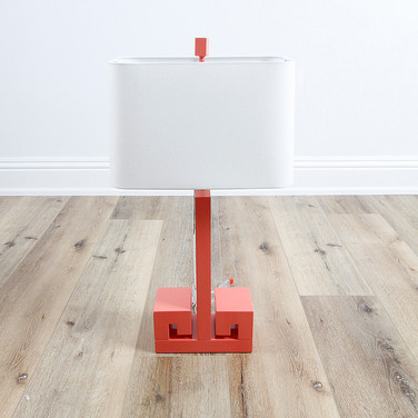 "30"" Greek Key Table Lamp - Coral"
