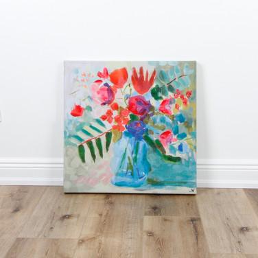 """Floral Blue Vase 24"""" x 24"""""""