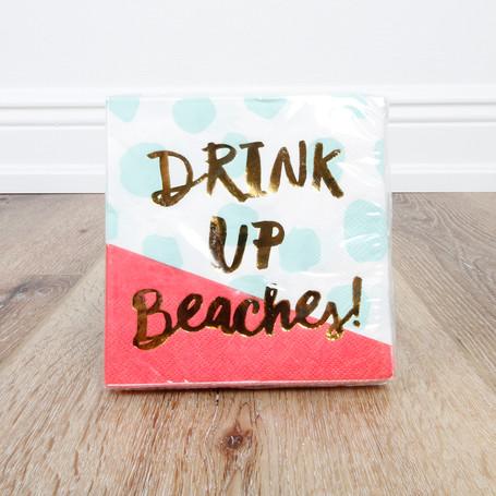Foil Drink Up Beaches Beverage Napkin