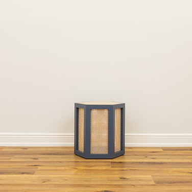 "Newbury Port Blue Hexagon Stool  22"" x 22"" x 18"""