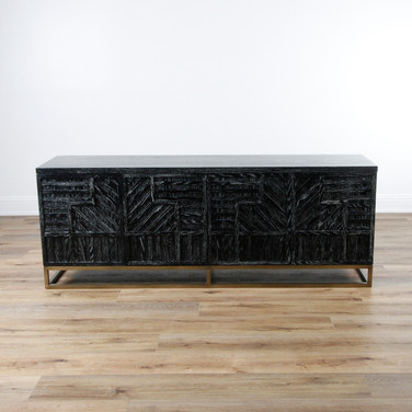 "Stria Geometric Credenza - Black Cerused with Bronze Base  84""W x 31.5""H x 20""D"