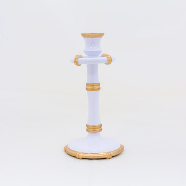 "Bamboo Candlestick - White  8.5"""