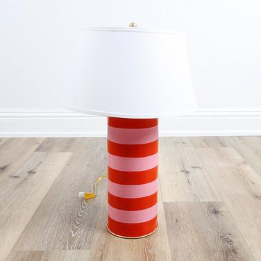 Stacked Lamp Pink Orange Stripe
