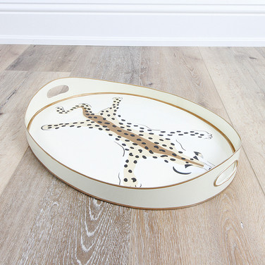 Small Oval Tray Cream Leopard