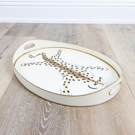 Small Oval Tray Cream Leopard