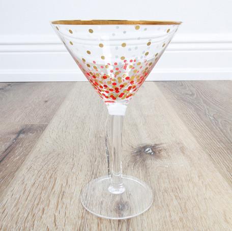 Pink/Gold Dot Martini Glass