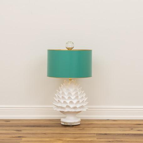 "Artichoke Lamp with Aqua Shade  29"" x 16"""