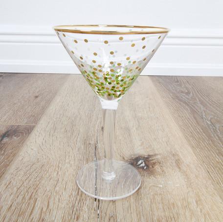 Green/Gold Dot Martini Glass