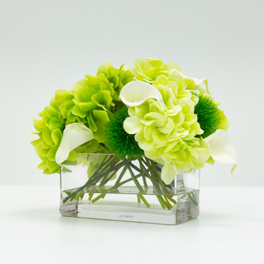 Hydrangea and Calla Lily Bouquet in Glass Rectangle