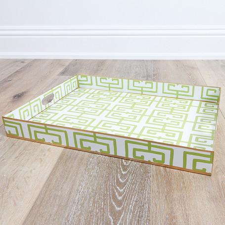 Green Fret Rectangle Tray