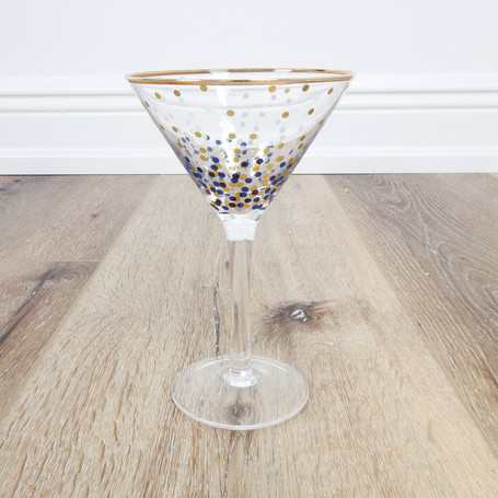 Blue/Gold Dot Martini Glass