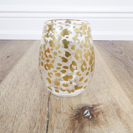 Leopard Stemless Wineglass
