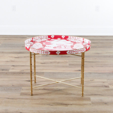 """Canton Pink Oval Occasional Table  28"""" x 22"""""""